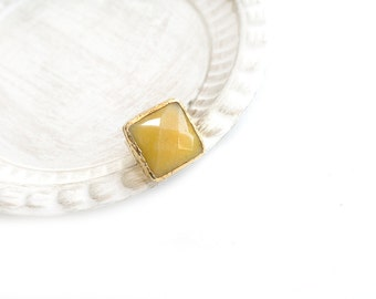 Adjustable Square Yellow Jade Stone Gold Plated Ring
