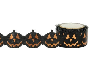 Pumpkin TAPE, Pumpkin Foil Tape, Halloween Tape, Die Cut Pumpkins, Jack O Lantern Tape, Halloween Foil Tape, Little B Tape, Little B Foil