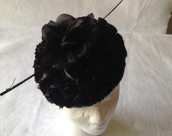 Black beret pillbox hat with large quill feather and flower - Black Flower And Feather Racing Fascinator Hat - Black Formal Ladies Hat