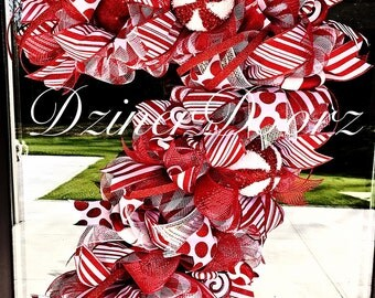 Whimsical Candy Cane deco mesh wreath