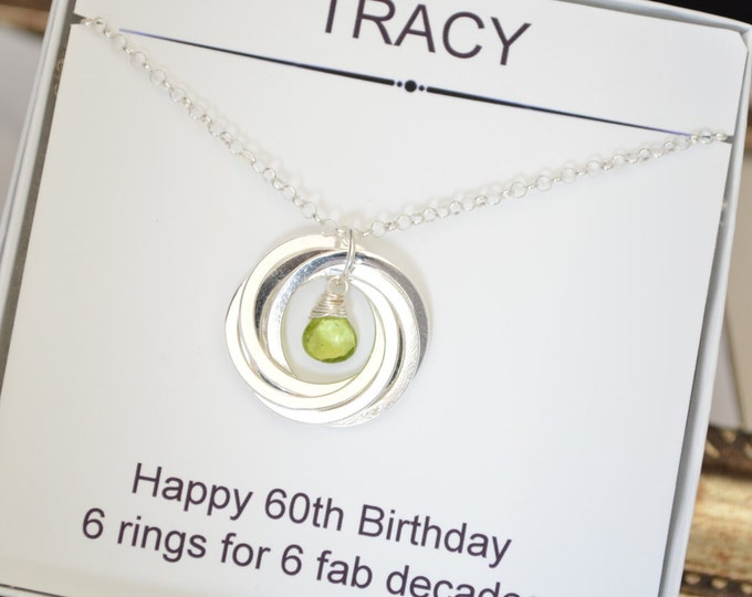 60th Gift for mom, 6th Anniversary gift for her, Peridot birthstone necklace, August birthstone jewelry, Gift for mom, 6 Interlocking rings