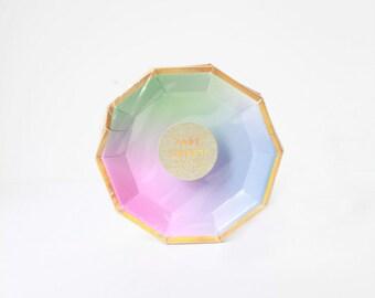 Mini Small Canape Ombre Paper Plates - Meri Meri- Party Decor Supplies - Pink - Multi color - Appetizer - Gold