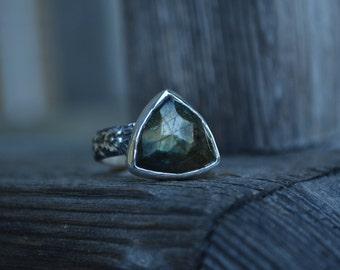Labradorite Trillion Ring, Labradorite Ring, Rose Cut Labradorite Ring, Rose Cut, Labradorite, Sterling Silver