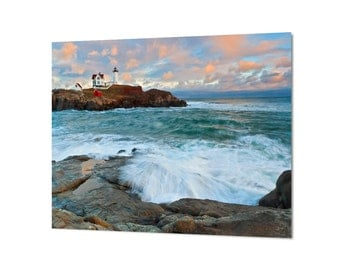 Nubble Lighthouse Metal Print, Metal Wall Art, Maine Photography, Coastal Seascape Decor, Photo on Metal, Aluminum Print, Teal Blue Peach