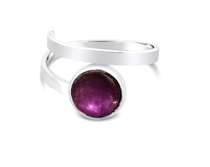 Amethyst and Sterling Silver Adjustable Ring