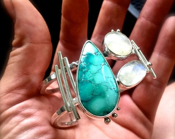 Turquoise and Rose Cut Moonstone Cuff Bracelet - Beyond the Edge - Boho Cuff - Gypsy Cuff - Big Cuff -Within the Storm