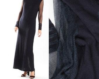 Vintage Dark Blue Knit Knitted Maxi Dress / Shiny Blue Knitted Dress / Sheer Transparent / 1970s 80s Avant garde Womens Size Small Medium