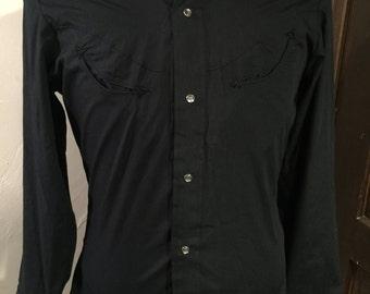 Men's vintage black western shirt - NOS - Small