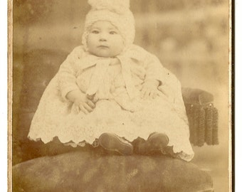 1910 Cabinet Card Photo Adorable Fat Baby