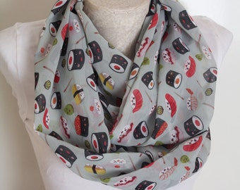 Sushi Scarf Foodie Chef Gifts for Her Infinity Scarf Japanese Food Women Accessories Sashimi Sushi Set Wasabi Culinary Gifts