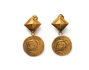 S.U.P.E.R SALE were 350 now 150 rare & collectable vintage 40s JOSEFF of HOLLYWOOD gold coin medallion earring