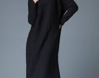 Linen dress, linen dresses for women, linen dress plus size, long dress with sleeves C839