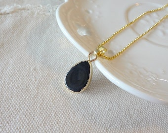 2016 Black Agate  Drusy Druzy Pendant Gold Plating Gem Teardrop Gemstone Necklace