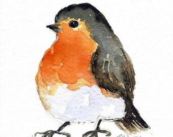 ORIGINAL Watercolor Bird Illustration Robin Painting Animal Art Nursery Art Hand Painted 5x7