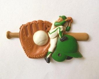Baseball Wall Art - Small Plaque of Pitcher, Catcher's Mitt, Bat, and Ball - Vintage Plastic