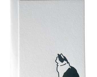 Cat letterpress card, black and white cat, pet card, pet lover card