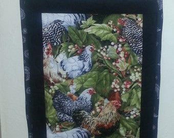 Chicken and Rooster quilted wall hanging