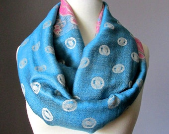 Polka dots scarf,  Infinity Scarf , Pashmina , Teal scarf, spring scarf