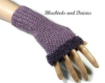 Grape Purple FIngerless Gloves