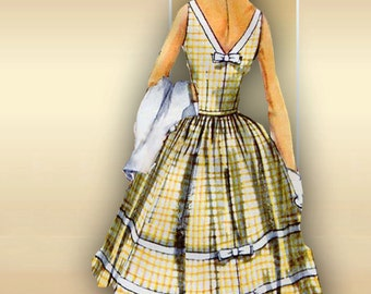 1950s Dress Pattern Simplicity 1568 Summer Dress with Rockabilly Bouffant Skirt and Bolero Jacket Bust 32
