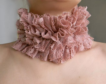 Pink Collar Ruff Collar High Ruffle Collar Choker, Pastel Lace Collar, Edwardian Queen Collar, Renaissance Costume, Dusty Pink Neck Ruffle