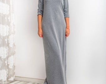 Grey Maxi Dress, Long dress, Fall dress, Casual dress, Day dress, Long Dress