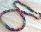 Rainbow titanium chainmail necklace delicate Persian round chainmaille