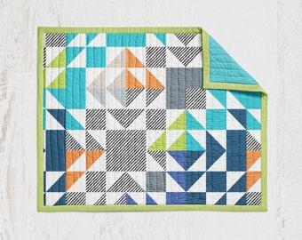 Navy Teal Lime Patchwork Crib Quilt Baby Quilt Wholecloth Quit Baby Blanket Crib Blanket Blue Teal Lime Orange Crib Blanket Triangle Quilt