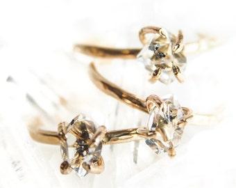 Hoku'alohi ring - herkimer diamond ring, gold solitaire ring, gold ring, mineral ring, gemstone ring, gold crystal ring, hawaii jewelry