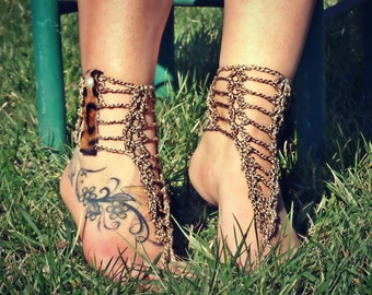 Foot jewelry, barefoot sandals boho sandles, brown summer boots barefoot sandles, summer beach party, chain anklets leopard fur cuff
