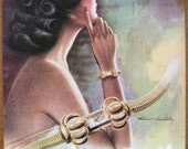 Universal Geneve, 1940s, vintage, ad, original, watch, French, Chambellay, woman, advertisement, free shipping, paper, ephemera