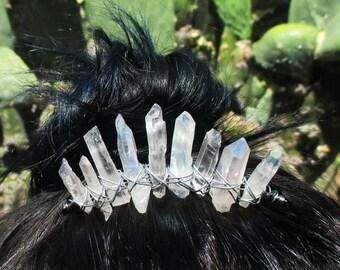 Angel Aura Crystal Mini Tiara Hair Comb CHOOSE YOUR COLOR
