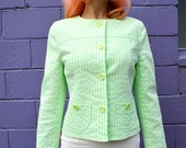 COURRÉGES 1990's Space Age Fuzzy Neon Green Striped Jacket