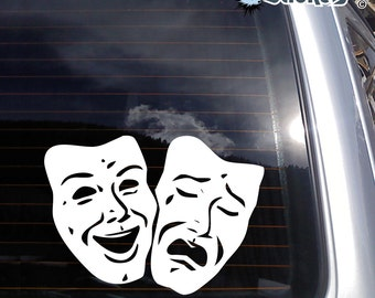 Theatre Mask Comedy & Tragedy Vinyl Decal - fits car windows, laptops +more K285