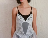 vintage 1980s white lace & sheer teddy
