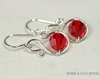 Red Swarovski Crystal Earrings Wire Wrapped Jewelry Handmade Sterling Silver Earrings Swarovski Crystal Jewelry Red Earrings Red Jewelry