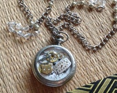 Altered Upcycled Vintage Pocket Watch Necklace RePurPoseD Collage Very Long Chain Pearls Crystals Cat Lover Boho Steampunk Large Pendant