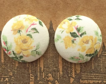 Fabric Button Earrings / Pastel Yellow Roses / Wholesale Jewelry / Vintage Inspired Earrings / Gifts for Her / Small Studs / Hypoallergenic