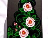 Hand Painted Red and White Flowered Memory Box Photo Box Valentines Day Gift
