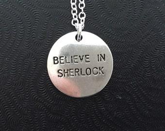 Believe in Sherlock Necklace, Sherlock Holmes, John Watson, Moriarty, Arthur Conan Doyle
