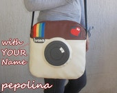 Personalized Polaroid camera photo lens shoulder bag (with Your name)