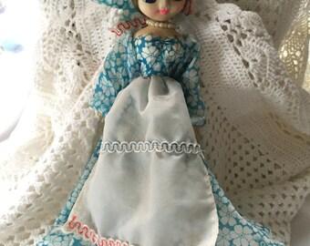 Vintage Pose Doll, Pose-able Japan Doll, Big Eyed Bradley Boudoir Stockinette Cloth Doll 1950s - 1960s