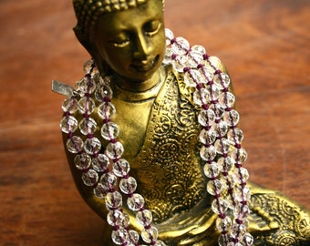Faceted Crystal Quartz Mala Beads 108 Bead Japa Mala Mantra Meditation Clear Crystal Knotted Gemstone Buddhist Prayer Beads Yoga Tassel