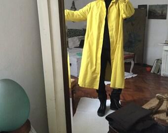 70s Neon Yellow Trench coat / waterproof / poly / oversized rain coat duster M L