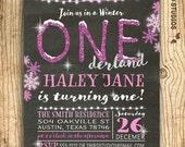 First birthday invitation - Winter ONEderland invitation - Winter first birthday party - Winter ONEderland party - First birthday girl