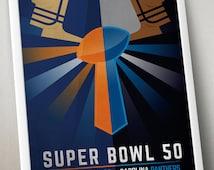 """Super Bowl 50 - Denver Broncos v Carolina Panthers Poster (11 x 17"""")"""