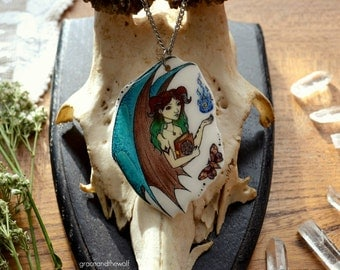 """SALE - Illustrated Necklace - """"Little Demon"""" by Grace and the Wolf, shrink plastic, resin and stainless steel chain 50cm/20 inches long"""