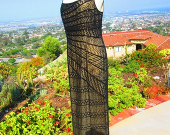 "KILLER Vintage 1990's Floor Length Black Beaded Illusion Dress ""Treat Me Right"""