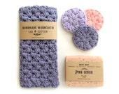 Muttertagsgeschenk Set für Frau Mama Geburtstagsgeschenk für Frauengeschenk für Freundin-Geschenk für ihre Waschlappen und natürliche Seife