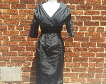 Vintage 1950s 60s Little Black Dress An Arkay Large Collar Pencil Dress // Bombshell Pinup